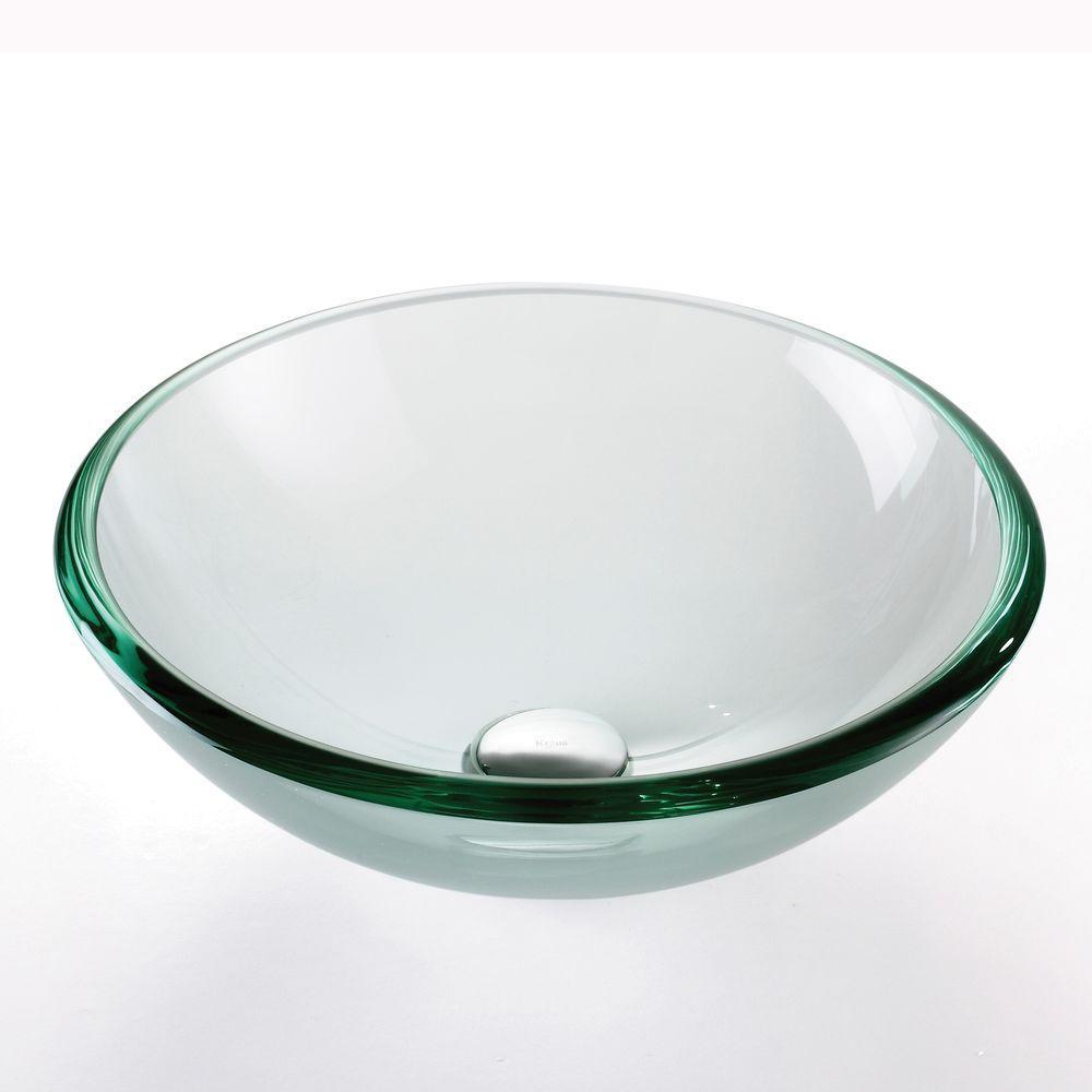 17 in. Glass Vessel Sink in Clear