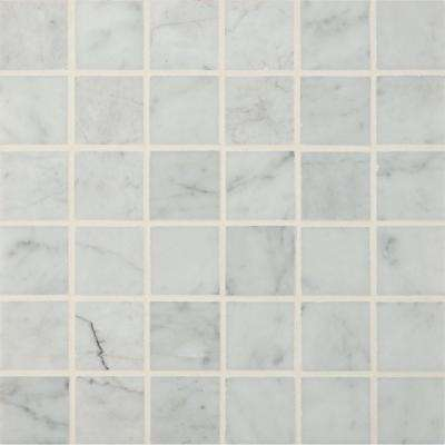 Carrara White 12 in. x 12 in. x 10mm Polished Marble Mesh-Mounted Mosaic Floor and Wall Tile (10 sq. ft. / case)