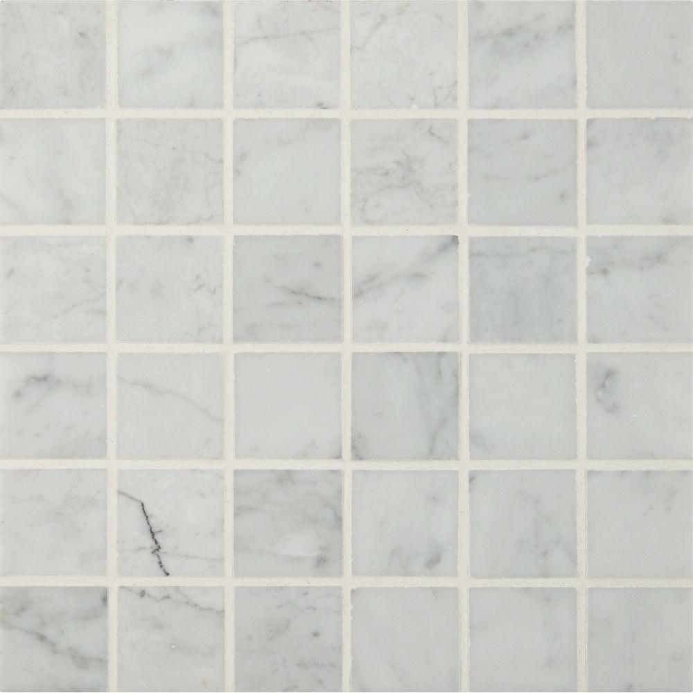 MSI Carrara White 12 in. x 12 in. x 10 mm Polished Marble Mesh ...