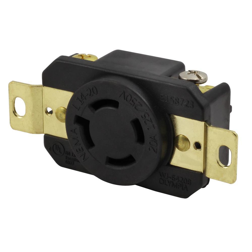 20-Amp 125/250-Volt NEMA L14-20R Flush Mounting Locking Industrial Grade Receptacle