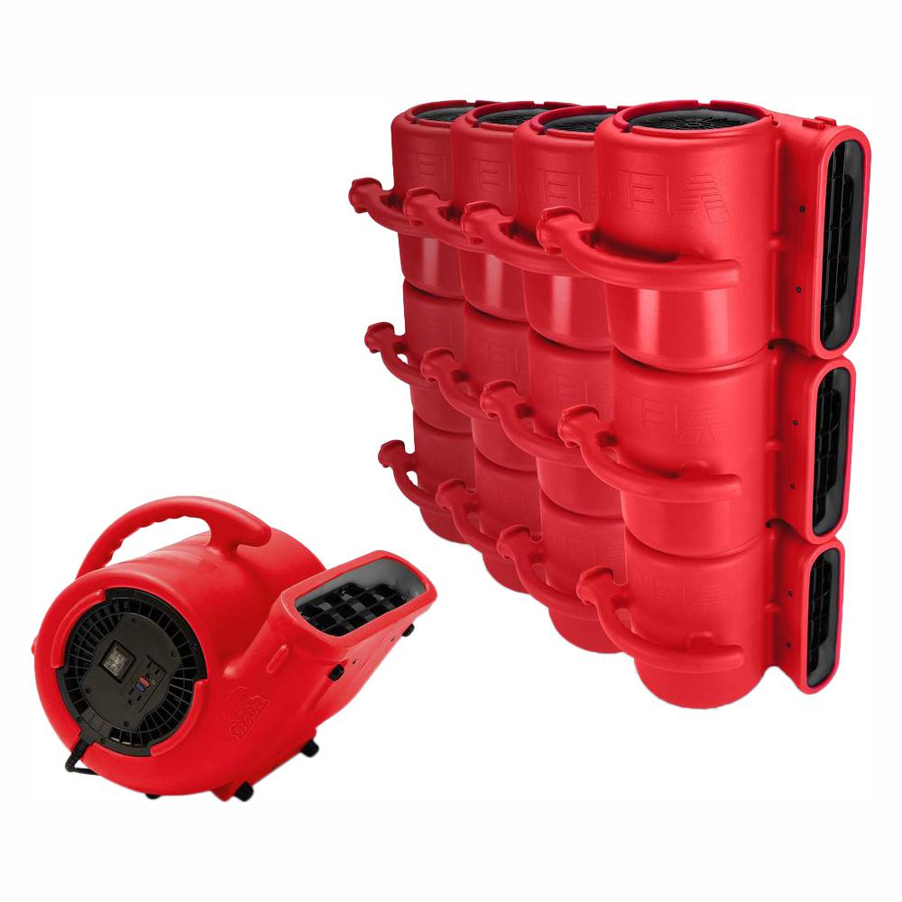 B-Air 1/3 HP Air Mover for Water Damage Restoration Carpet Dryer Janitorial Floor Blower Fan in Red (45-Pack)