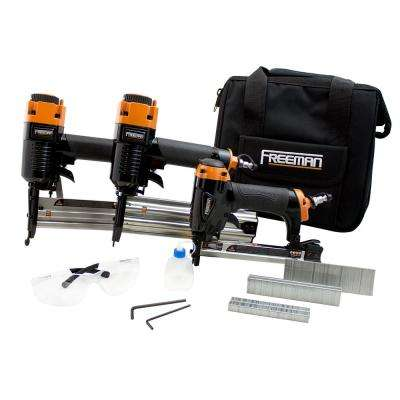 Pneumatic 18 and 20-Gauge Finishing Nailer and Staplers Combo Kit with Fasteners and Canvas Bag (3-Piece)