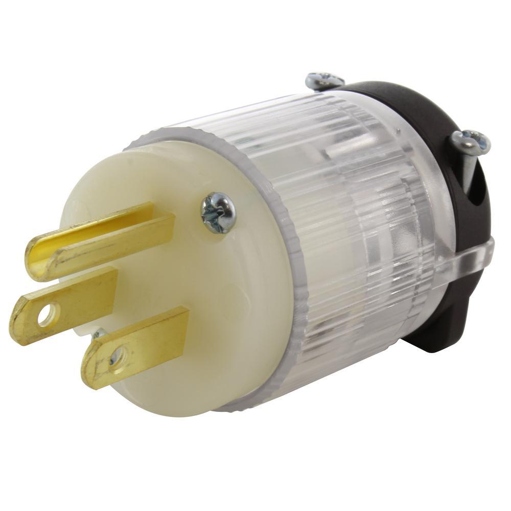 15 amp 125-volt nema 5-15p 3-prong household male plug with power indicator