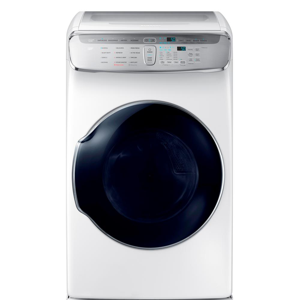 Samsung 7.5 Total cu. ft. Gas FlexDry Dryer with Steam in White Samsung's FlexDry Dryer provides the ultimate drying flexibility, by combining a conventional large capacity dryer with a delicate dryer, so you dry delicate and everyday garments at the same time. The standstill delicate dryer lets you lay flat undergarments, sweaters, and accessories to dry; to prevent items from shrinking and fabric damage. Combined with the Samsung FlexWash Washer, the Samsung FlexWash + FlexDry laundry pair provides a complete laundry solution to provide the optimal care for your clothes. Advanced features like Multi-Steam technology gives you the ability to steam away wrinkles. Color: White.