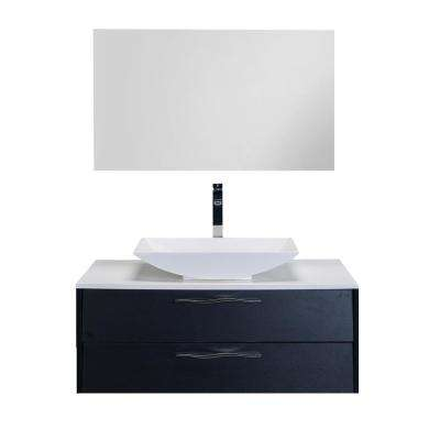 Zenvi 39 in. W x 20 in. D x 21 in. H Vanity in Black-Wood with Acrylic Top in White with White Basin