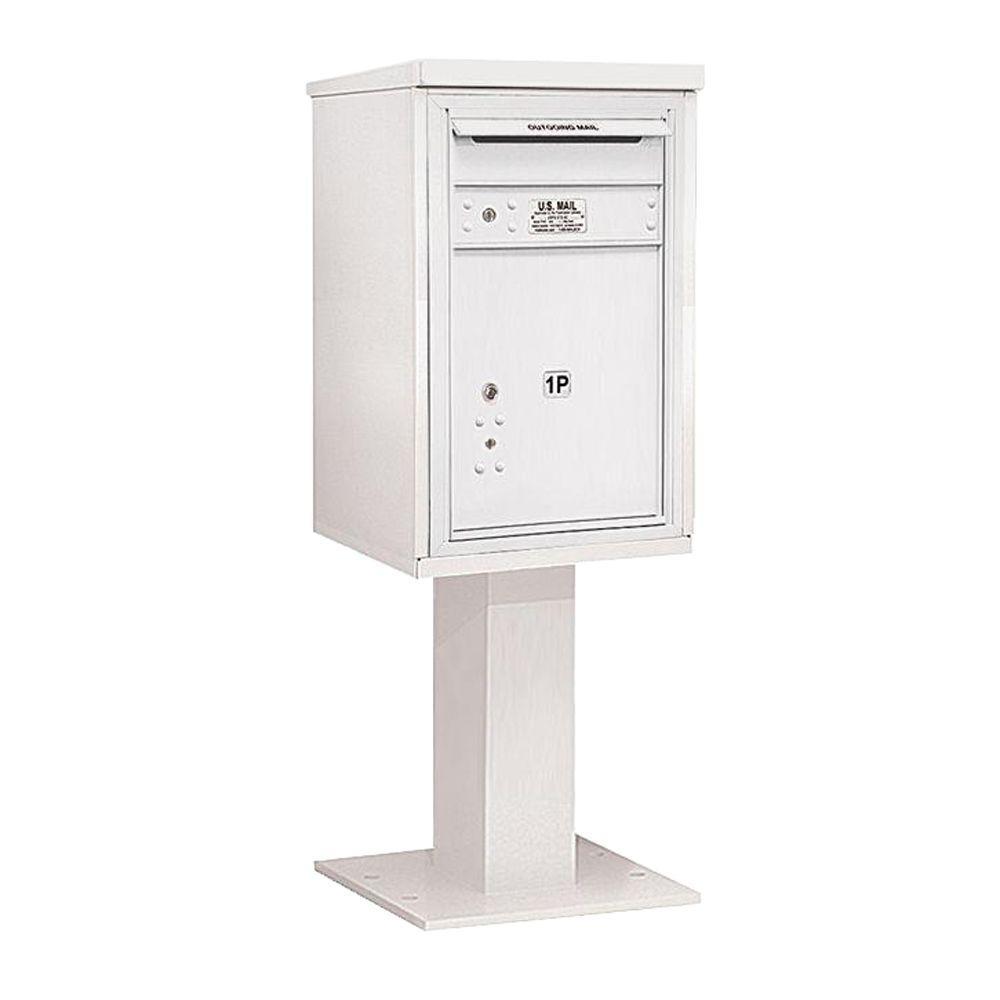 Salsbury Industries 3400 Series 55-1/8 in. 7 Door High Unit White 4C Pedestal Mailbox with 1 PL5 Parcel Locker