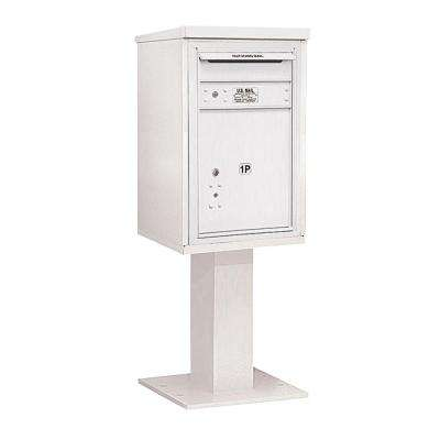 3400 Series 55-1/8 in. 7 Door High Unit White 4C Pedestal Mailbox with 1 PL5 Parcel Locker