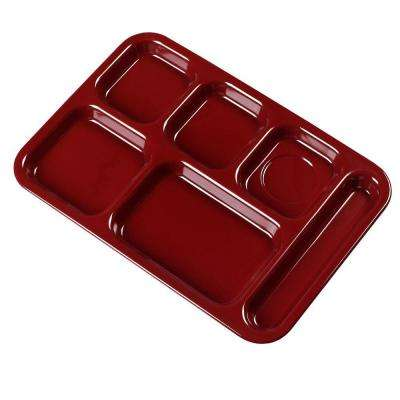 14.5 in. x 10 in. Melamine Right Hand 6-Compartment Tray in Dark Cranberry (Case of 12)
