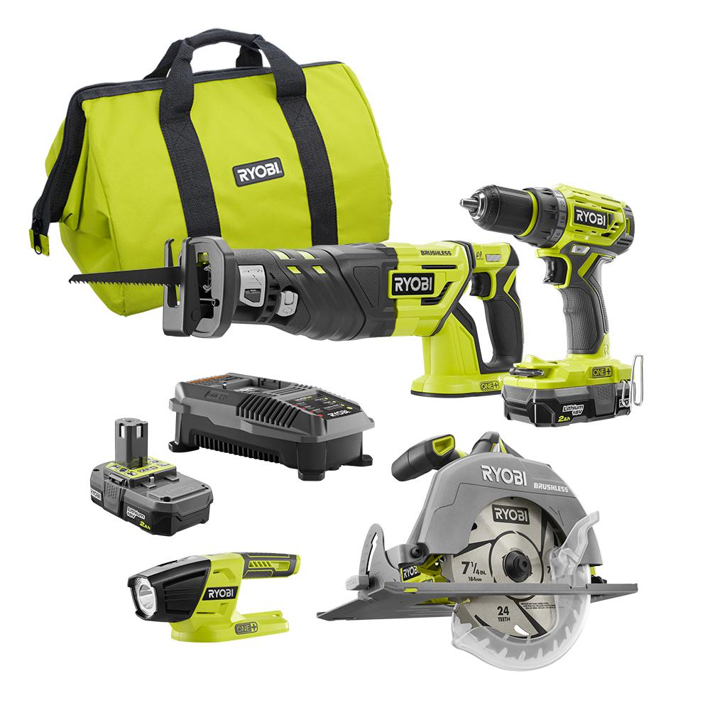RYOBI 18-Volt ONE+ Lithium-Ion Cordless Brushless 4-Tool Combo Kit with (2) 2.0 Ah Batteries, Dual Chemistry Charger, and Bag