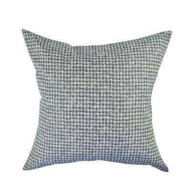 Blue Houndstooth Woven Throw Pillow