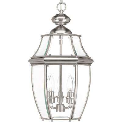 New Haven Collection 3-Light Outdoor Brushed Nickel Hanging Lantern
