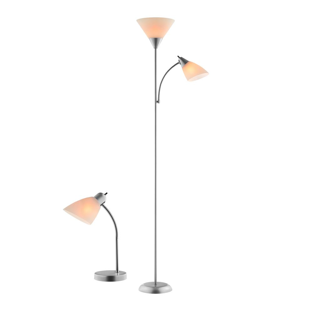 Catalina Lighting 71 In Silver Mother Daughter Floor Lamp And 18 75 In Desk Lamp With