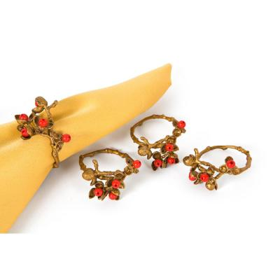 Gold Holly Berry Holiday Painted Brass Metal with Resin Berry Napkin Rings (Set of 4)