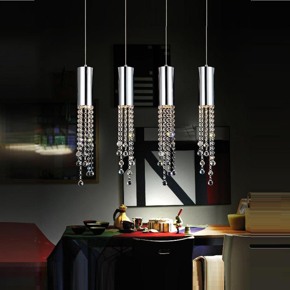 Extended 4-Light Chrome Chandelier