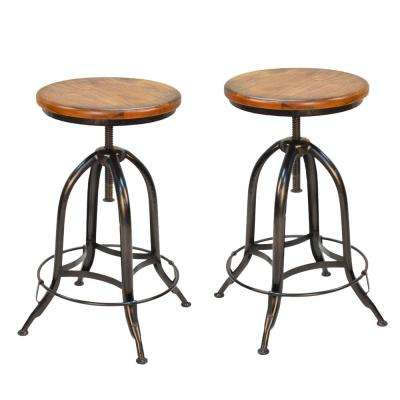 Ryder Adjustable Height Black and Chestnut Bar Stool (Set of 2)