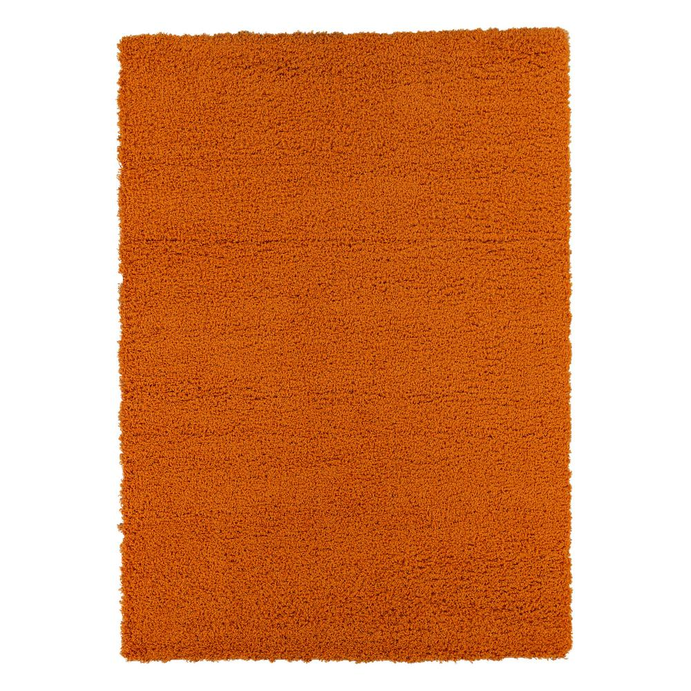 Ottomanson Contemporary Solid Orange 5 Ft X 7 Ft Shag Area Rug