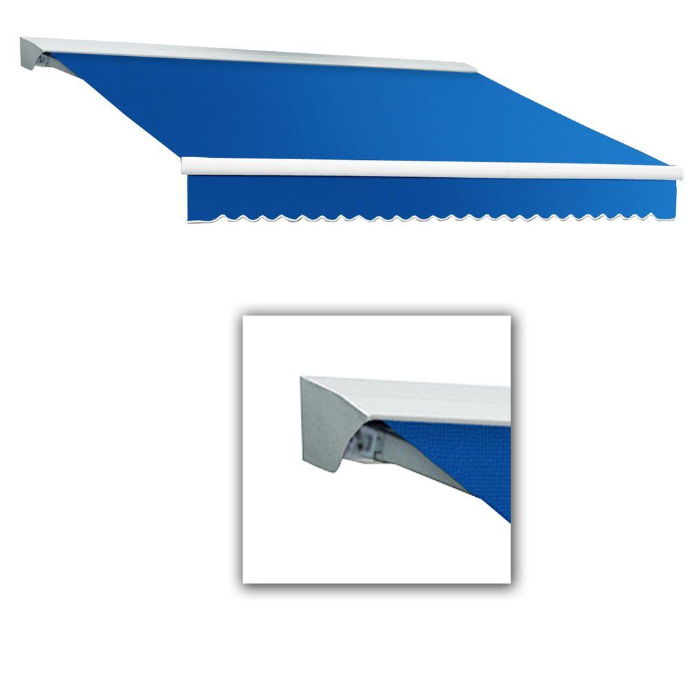 AWNTECH 8 ft. LX-Destin with Hood Left Motor/Remote Retractable Acrylic Awning (84 in. Projection) in Blue