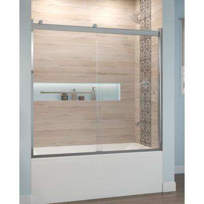 Rotolo 60 in. x 57 in. Semi-Frameless Sliding Tub Door in Chrome with Handle