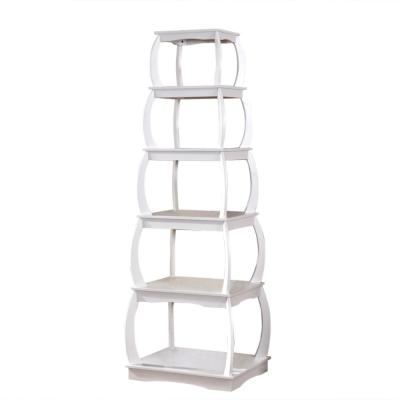 66 in. White Finish 5-Shelf Corner Ladder Display Bookshelf