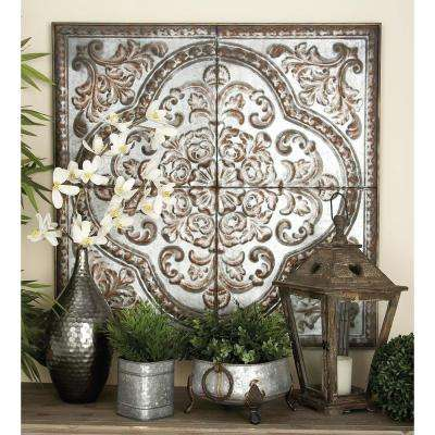 36 in. x 36 in. Rustic Traditional Square Wall Panel in Distressed Finish with Embossed Filigree