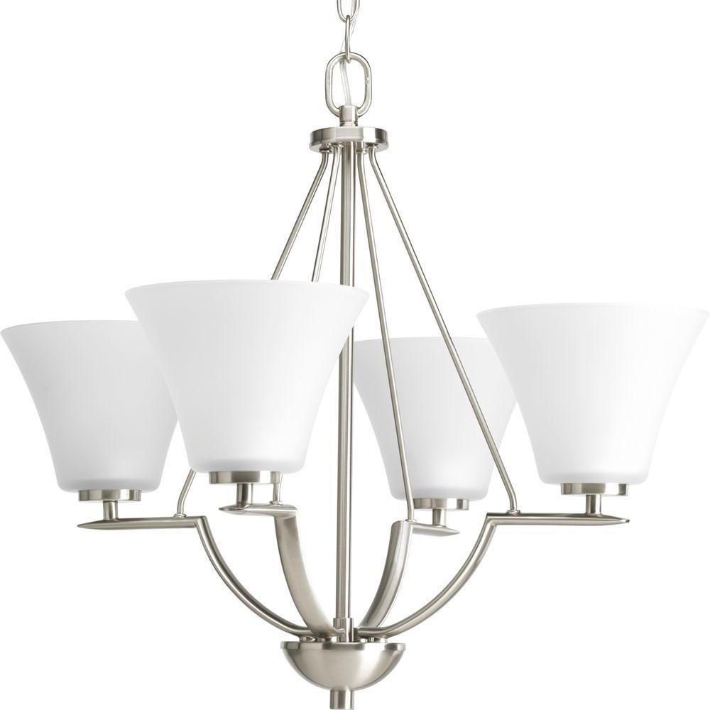 progress lighting alexa 4 light brushed nickel chandelier. progress lighting bravo collection 4-light brushed nickel chandelier with shade-p4622-09 - the home depot alexa 4 light o