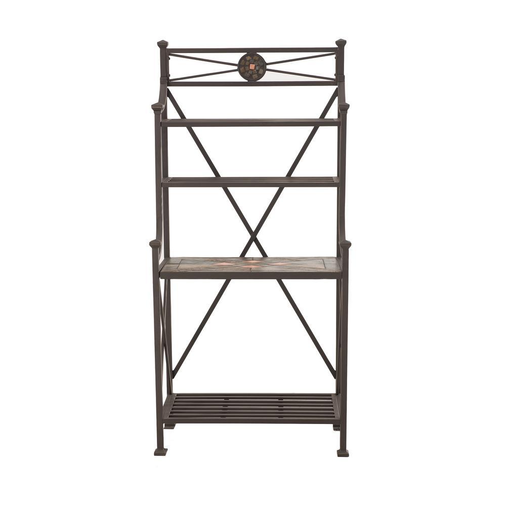 sunjoy hansel steel and slate baker 39 s rack l br098pst a the home depot. Black Bedroom Furniture Sets. Home Design Ideas