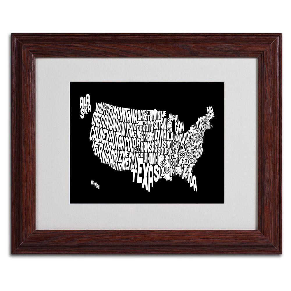 11 in. x 14 in. USA States Text Map - Black
