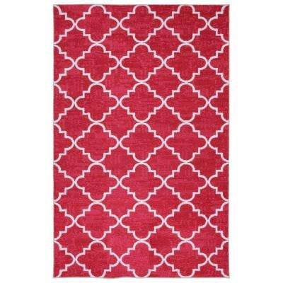 Fancy Trellis Hot Pink 5 ft. x 8 ft. Area Rug