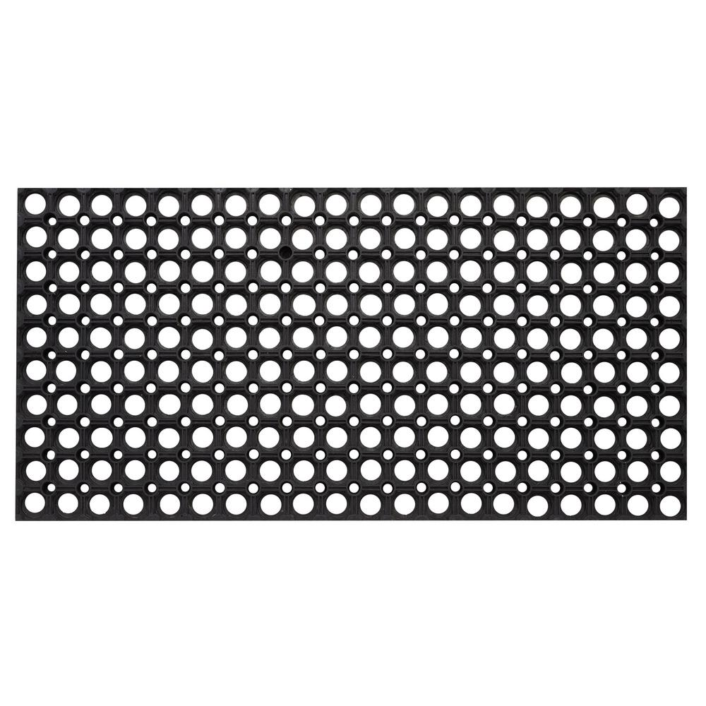 Rubber Floor Mat >> Envelor Hollow Design Black 59 In X 39 In Rubber Outdoor Indoor