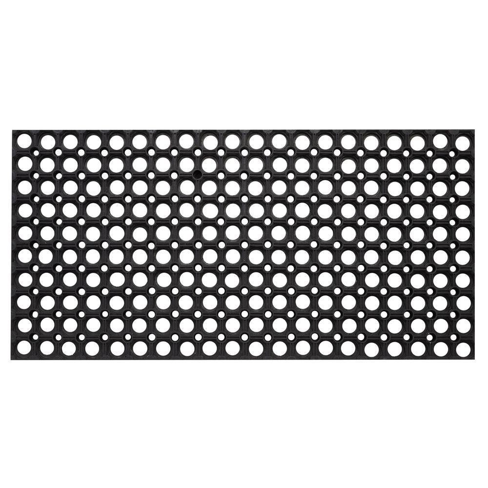 Hollow Design Black 59 in. x 39 in. Rubber Outdoor/Indoor Floor Mat