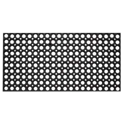 Hollow Design Black 59 in. x 39 in. Rubber Outdoor/Indoor Floor Mat