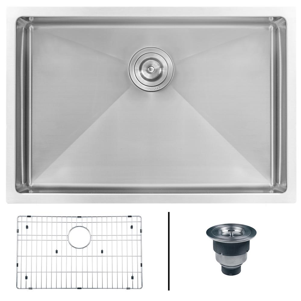 ruvati undermount stainless steel 26 in  single bowl kitchen sink 16 gauge ruvati undermount stainless steel 26 in  single bowl kitchen sink      rh   homedepot com