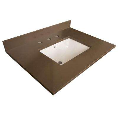 Aberdeen 30.2 in. W x 21.8 in. D Quartz Single Basin Vanity Top in Taupe with White Basin