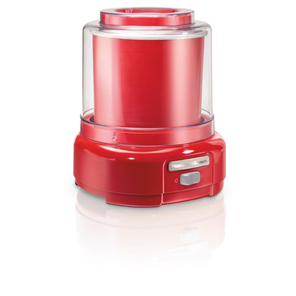 Hamilton Beach 1.5 Qt. Red Ice Cream Maker With the Hamilton Beach 1.5 Quart Ice Cream Maker, you can enjoy creating homemade ice cream, frozen yogurt, sherbet, and gelato in your kitchen. After pre-freezing the bowl, you're ready to make dessert anytime, at a fraction of the cost of an ice cream shop. Add your favorite ingredients, sit back and relax, and you will be scooping delicious, ice-cold desserts in no time. Hamilton Beach Ice Cream Makers are easy to use, even if you're a beginner. Simple-to-follow recipes are included so your family can make all kinds of delectable treats right from the start.