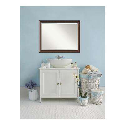 Cyprus Walnut Wood 45 in. W x 35 in. H Single Traditional Bathroom Vanity Mirror