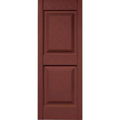 15 in. x 39 in. Raised Panel Vinyl Exterior Shutters Pair in #027 Burgundy Red