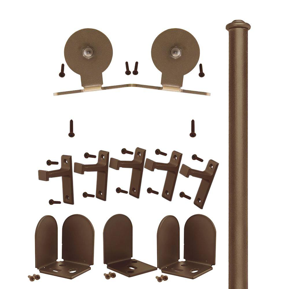 Quiet Glide 1-1/2 in. - 2-1/4 in. Top Mount Oil Rubbed Bronze Rolling Door Hardware Kit