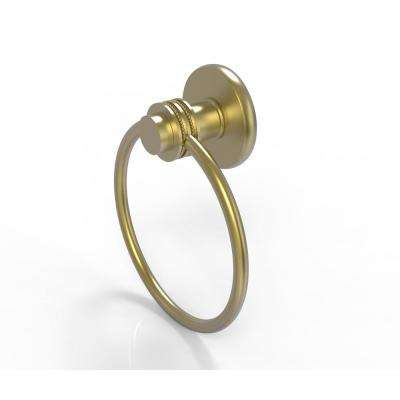 Mercury Collection Towel Ring with Dotted Accent in Satin Brass