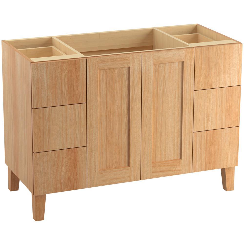 KOHLER Poplin 48 In W Vanity Cabinet Khaki White Oak With Vitreous China