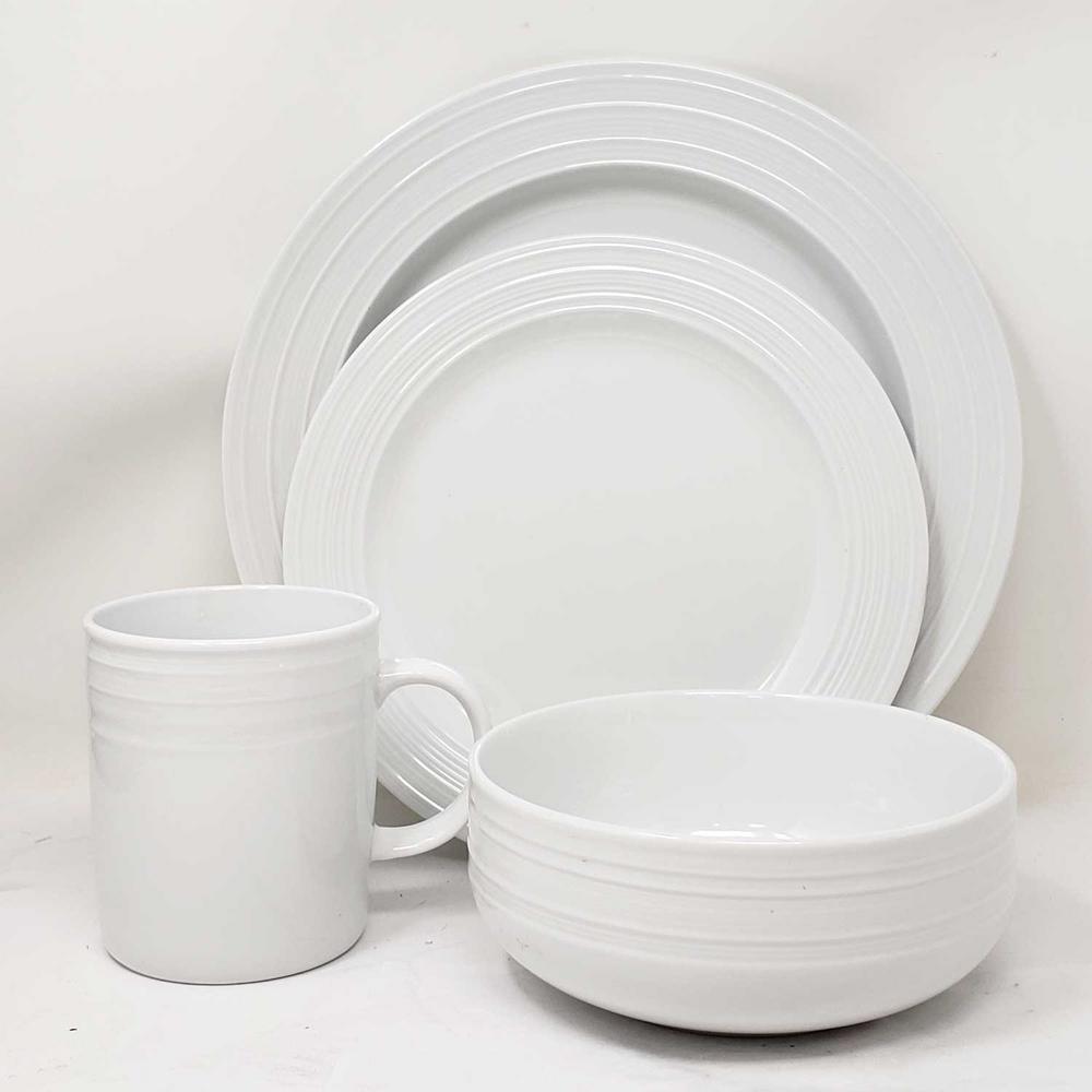 16-Piece Embossed Porcelain Dinnerware Set with Microwave Oven Freezer Dishwasher Safe