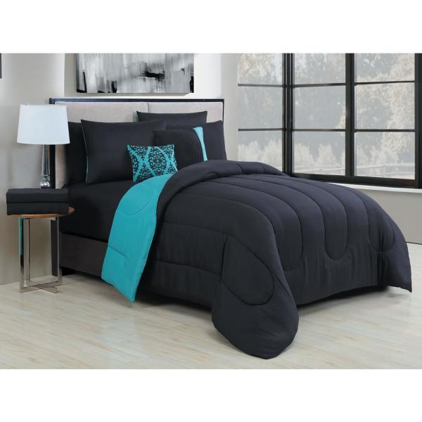 9 Piece Solid Black Teal Queen Bed In A Bag Set