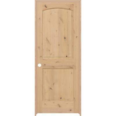 36 in. x 80 in. 2-Panel Round Top Right-Hand Unfinished Knotty Alder Prehung Interior Door with Nickel Hinges