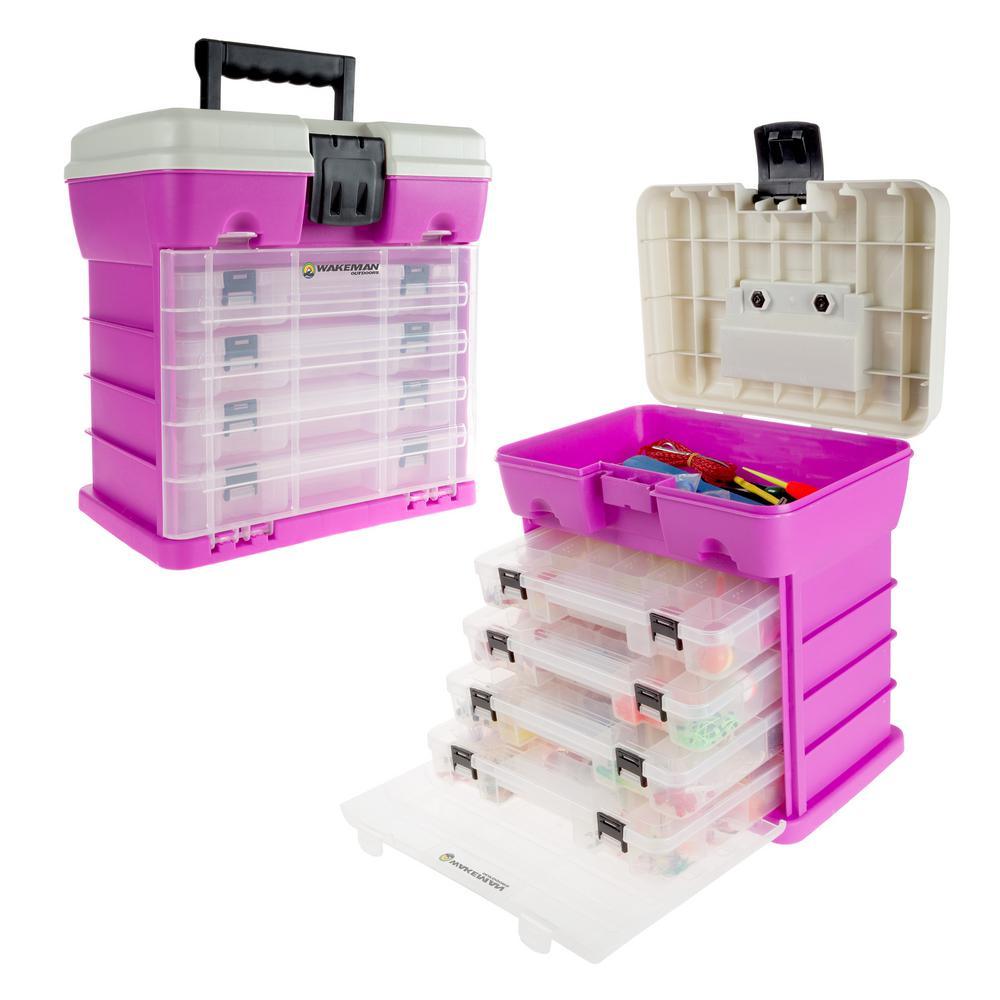 4-Drawer Pink Camping and Fishing Storage Tool Box