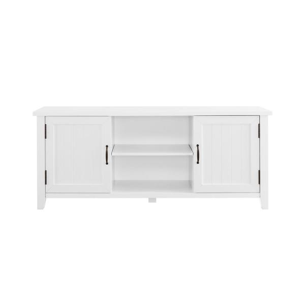 58 in. White Wood TV Stand Fits TVs Up to 65 in. with Storage Doors