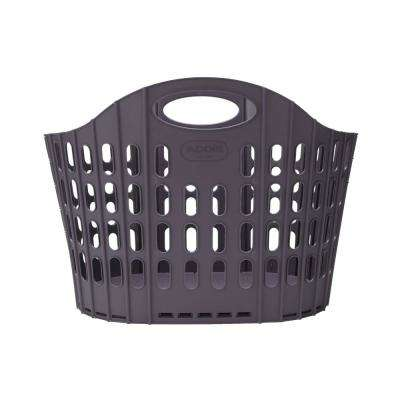 Brown Collapsible Plastic 38 Gallon Laundry Basket