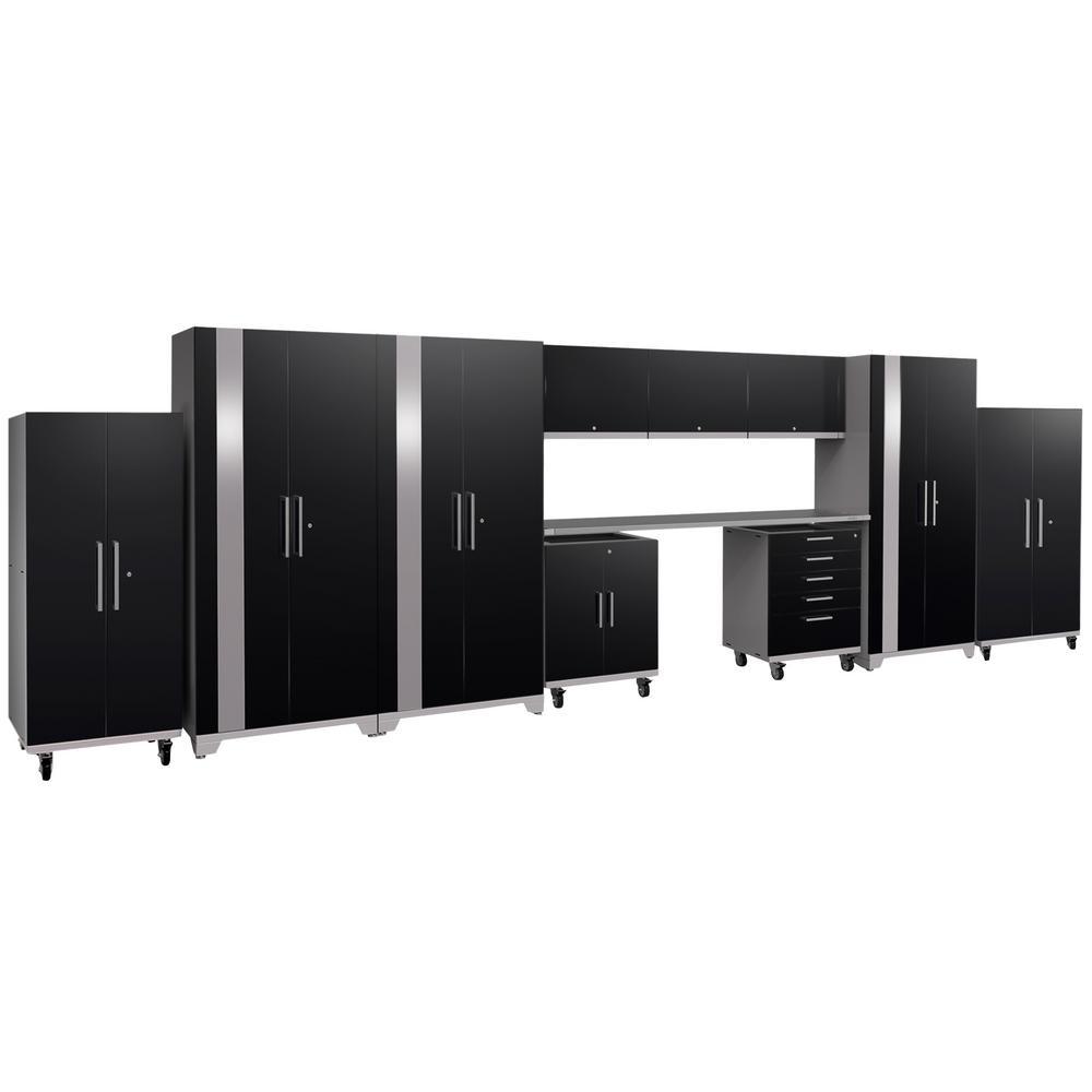 Performance Plus 2.0 80 in. H x 253 in. W x 24 in. D Steel Garage Cabinet Set in Black (11-Piece)