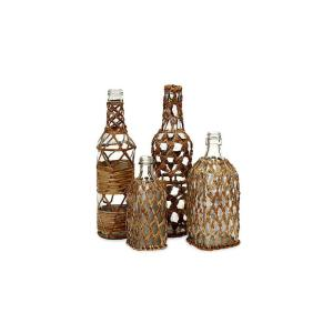 Almira Natural and Clear Rattan Glass Bottles (Set of 4)
