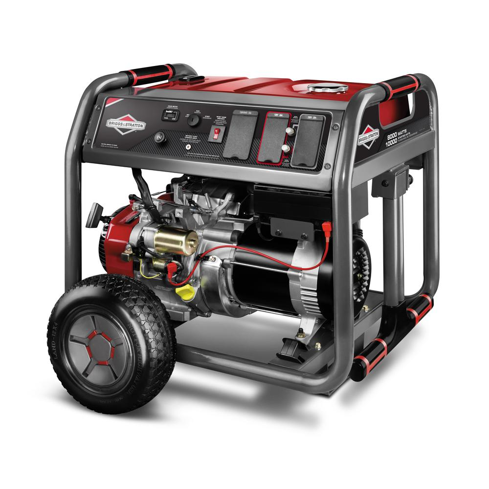 8,000-Watt Gasoline Powered Key Electric Start Portable Generator with 2100