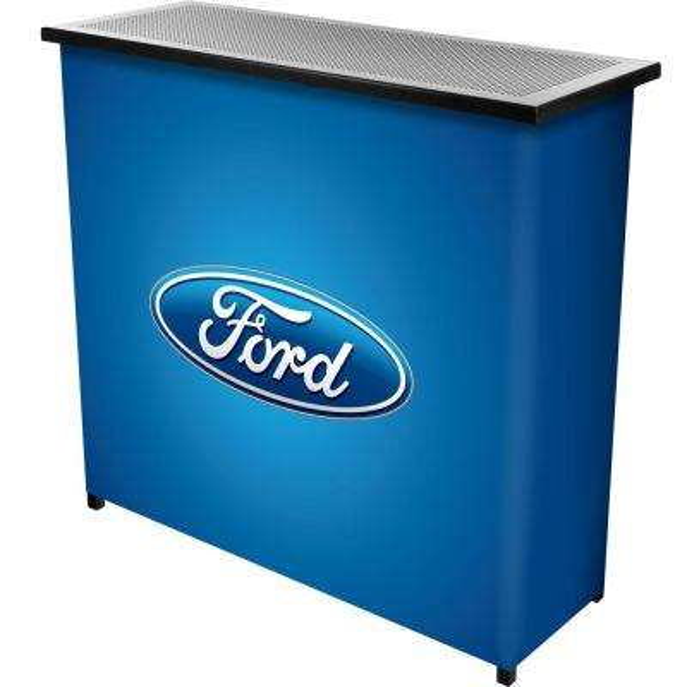 Oval 2-Shelf Blue Bar with Case