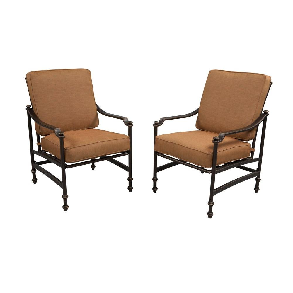 Hampton Bay Niles Park Patio Lounge Chairs with Cashew Cushions 2 Pack S2 A